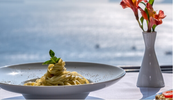 Delicious pasta offered from Nostos Apartments in Oia Santorini