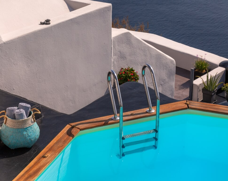 Magnificent sea view from the balcony of the Nostos Apartments in Oia Santorini