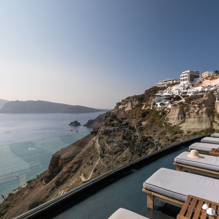 Amazing view from the private hot tub offered from Nostos Apartments in Oia Santorini