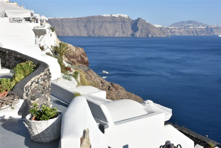 The wonderful sea view from the terrace of the luxury Nostos Apartments in Santorini