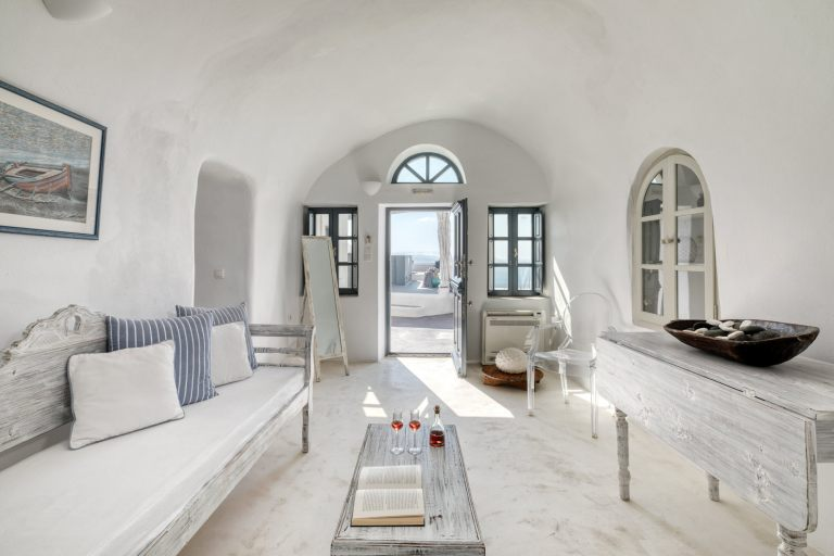 The luxurious interior in the apartments of Nostos Apartments in Oia Santorini