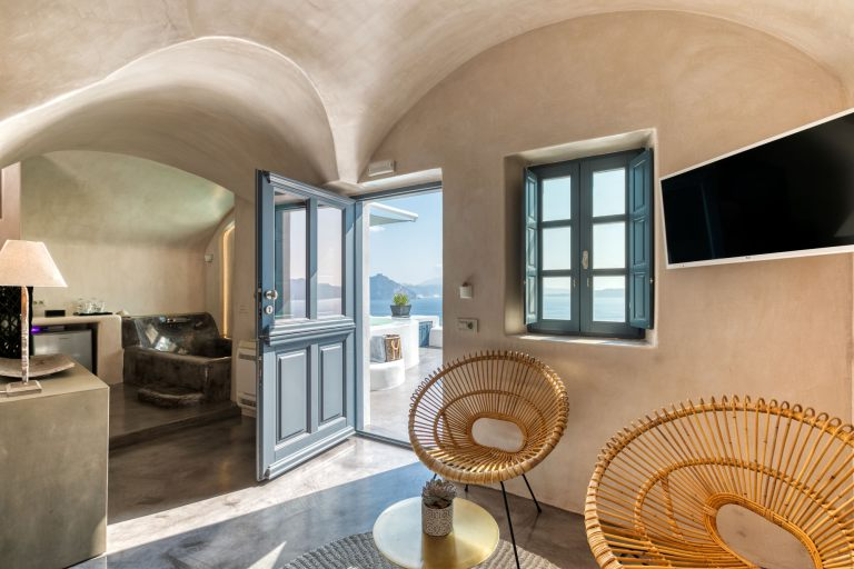 The luxurious interior inside the lavish apartments of Nostos Apartments in Oia Santorini