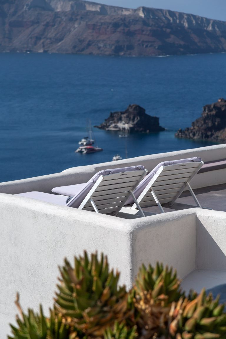 The magnificent private veranda of the luxury Junior Suite of Nostos Apartments in Oia Santorini